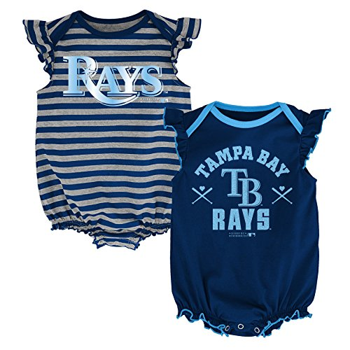 MLB Tampa Bay Rays Infant Girls 2pk Creeper-12 Months, Athletic - Rays Clothing