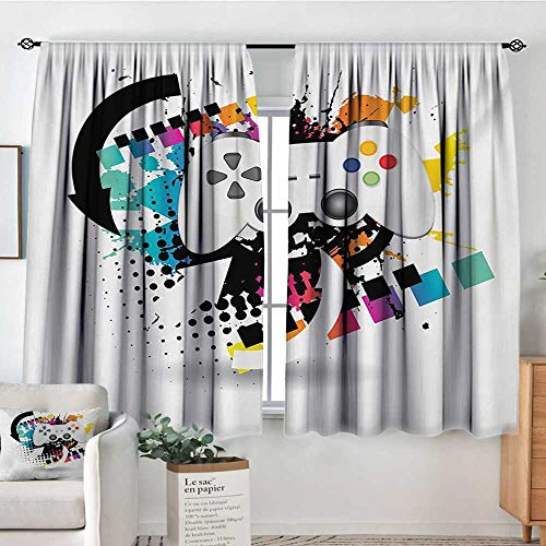 Gamer Window Curtain Fabric Modern Console Game Comtroller with Halftone Motif and Color Splashes Background Drapes for Living Room 63