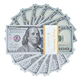 Prop Money $100X100 Pcs Play Money, Advertising & Novelty Real Looking New Style Copy Double - Sided Printing - for Movie, TV, Videos, Game Pretend Dollar Bills Fake Money, Standard Size (6.14 X 2.61 inches) (100Pcs-Style2)