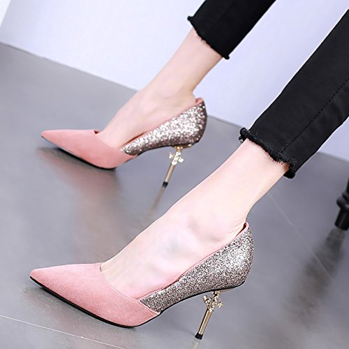 Water Drill Pointed Heel Sexy Color Thin Pink High Shoe Single Shallow Mouth Head Shoes Women'S Shoes Jigsaw Matching KPHY Spring Heel 9Cm Aq6nqZB