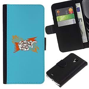 YiPhone /// Tirón de la caja Cartera de cuero con ranuras para tarjetas - Resumen Azul - Samsung Galaxy S4 Mini i9190