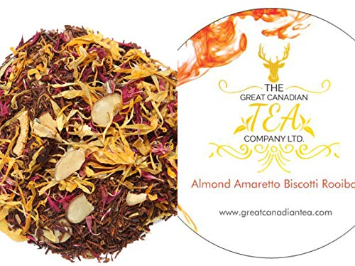 Rooibos Tea - Loose Leaf Red Tea - Almond Amaretto Biscotti - Caffeine Free Herbal Tea with real Almond Pcs - Delicious either Hot or Iced (100 ()