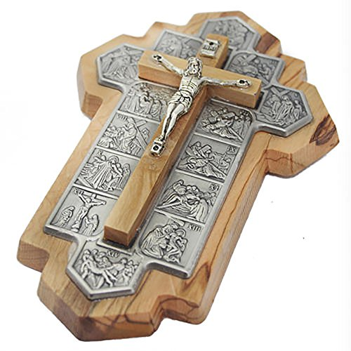 Blue White Shop Olive Wood Crucifix Made in Bethlehem with 14 Stations of Jesus on The Way to The Cross, in Jerusalem, Holy Land, Via Dolorosa