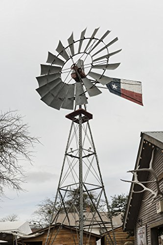 16 x 24 Art Canvas Wrapped Frame Giclee Print of Even windmills get a touch Texas little Bandera the