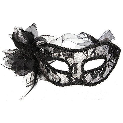 AStorePlus Lace Sexy Mask Women Girl Venetian Masquerade Lace Court Eyemask Eye Mask Halloween Party Costume Mask Masquerade, Black
