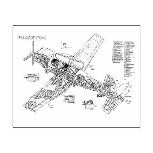Pilatus Pc (Media Storehouse 20x16 Print of Pilatus PC-9 Cutaway Poster (1569767))