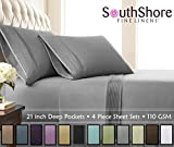 Southshore Fine Linens - 4 Piece - Extra Deep Pocket Pleated Sheet Set, Full, Steel Gray
