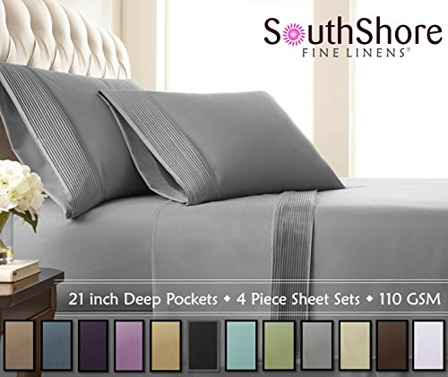 Southshore Fine Linens - 4 Piece - Extra Deep Pocket Pleated Sheet Set, King, Steel Gray (Fitted Sheets King Size 18 Inches Deep)