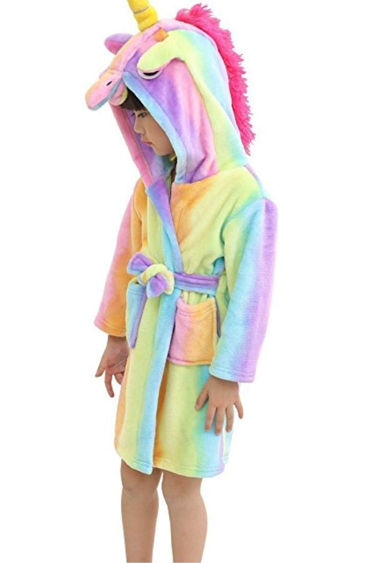 Kid Robes for Girls, Unicorn Hooded Bathrobes Sleepwear Rainbow Flannel Robe Pajamas Baby Plush Robe for Toddlers Children (Rainbow, Kid) FamyFirst