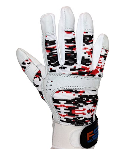 FullScope Sports Baseball Batting Gloves for Adult Boys Girls Youth Pro Softball Glove (Red/Black/White Digital Camo, Youth Large (Ages 8-10 yrs Old))