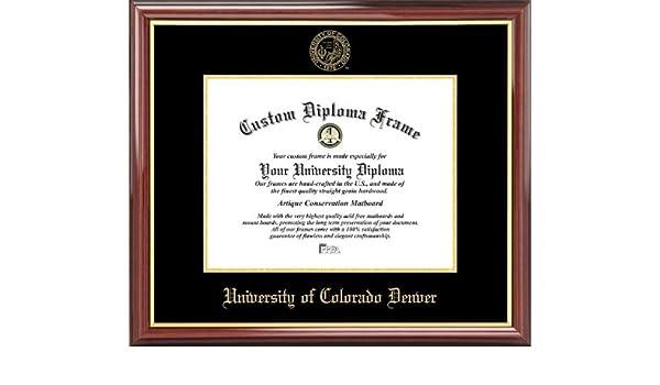 Laminated Visuals University of Colorado Denver Lynxes Embossed Seal Mahogany Gold Trim Diploma Frame