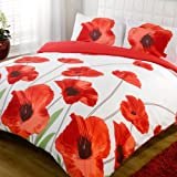 Duvet Quilt Cover & Pillow Case Bedding Set - Ampola Red - Double