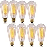 SooFoo Vintage Edison Bulb, Antique Classic Style Squirrel Cage Filament Incandescent Dimmable Light Bulbs, ST64 120v 60W E26 Base for Home Light Fixtures Decorative Lamp's Bulbs (8-Pack)