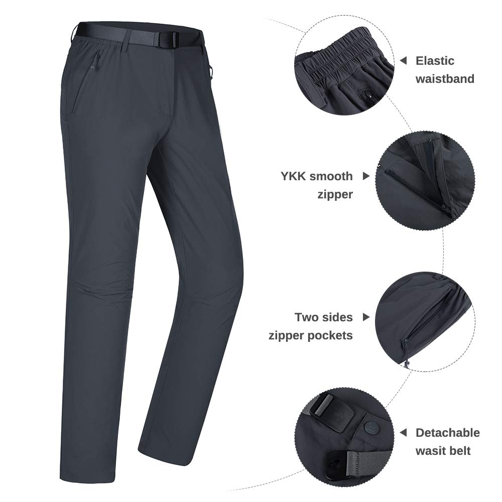 CAMEL CROWN Herren Outdoor Hose Wanderhose Zip Off Schnelltrocknend Elastisch mit G/ürtel
