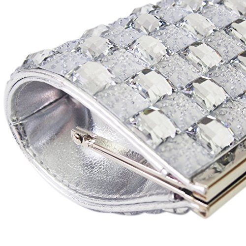 Missy Silver Clutch Clip Bag Party Evening Bling Money Rhinestone Purse K XvTFrX