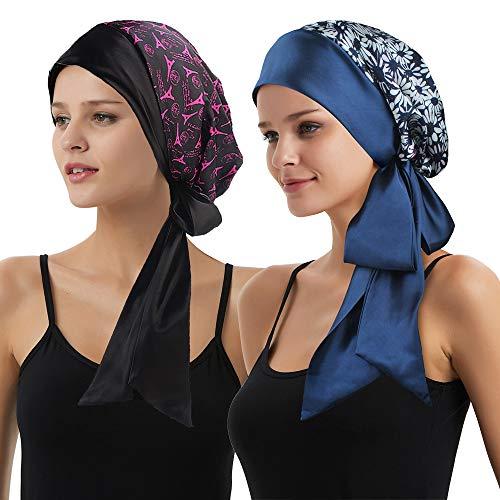 (EINSKEY Women Silky Satin Head Scarf Cancer Headwear Chemo Headwrap for Sleeping)