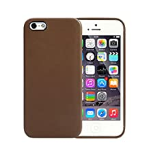 TKOOFN Cell Phone Accessory Bundle Premium PU Leather Snap on Case Cover for Apple iPhone 5 / iPhone 5s + Screen Protector + Cleaning Cloth + Stylus, Brown