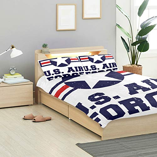 MIGAGA Duvet Cover Set, Tshirt Print Design Us Air Force, Decorative 3 Piece Bedding Sets with 2 Pillow Shams Full Size