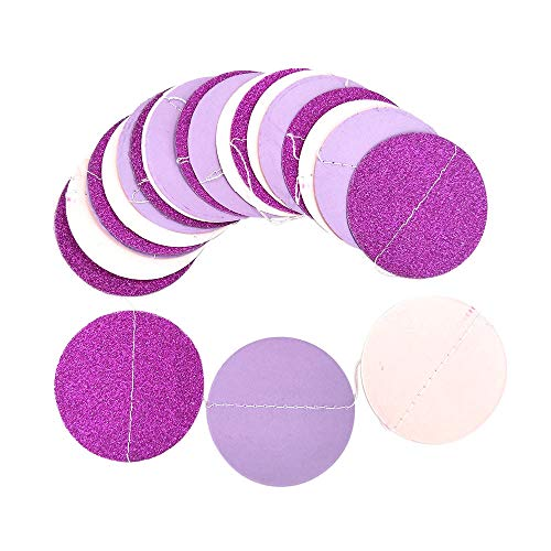 (AMOFINY Home Decor Glitter Circle Polka Dots Garland Banner Bunting Party Decoration Pink White and Gold)