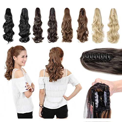 Claw Jaw on Ponytail Clip in Hair Extensions Straight Curly