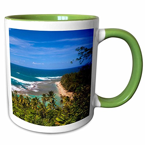(3dRose 205946_7 Tunnels Beach as seen from the Kalalau Trail in Ka Ceramic Mug Green/White)
