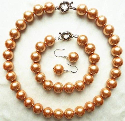 s 14mm Round South Sea Shell Pearl Necklace Bracelet Earring Jewelry 27 Champagne 14mm ()