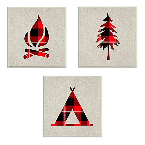 Plaid Wall Art (The Stupell Home Décor Collection Burlap Camping Buffalo Plaid 3 Piece Wall Plaque Art Set, 3)
