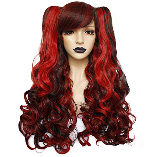Anogol Hair+Cap Red Cosplay Wig Synthetic Wig With Black And Red For Girls Cosplay Costume Wig For Cosplay Party Halloween Wig -