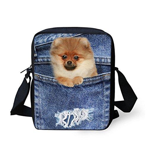 UNICEU Women Denim Pomeranian Print Sling Shoulder School Bags for Teenagers Girls Gym Sports Purse (Pomeranian Coin Purse)