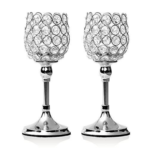 VINCIGANT Silver Crystal Candlesticks Holders Set of 2 for Mothers Day Home Decor Gifts/Wedding Coffee Table Decorative Centerpieces,10 Inches Tall La Mesa Vase