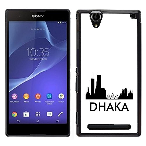STPlus Dhaka, Bangladesh City Skyline Silhouette Postcard Hard Cover Case for Sony Xperia T2 Ultra