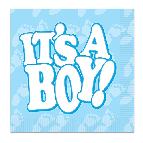 - Beistle It's A Boy Beverage Napkins, Light Blue/White