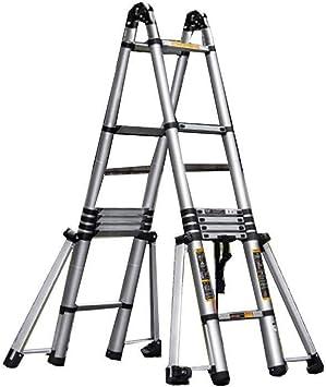 J-Escalera de Tijera Portátil Paso Escaleras Ingeniería telescópicos Escaleras de aluminio de múltiples funciones de elevación de 8 patas escalera plegable del hogar con antideslizante Pedal: Amazon.es: Bricolaje y herramientas