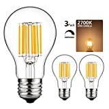 100watt incandescent light bulbs - GEZEE 10W Edison Style Vintage LED Filament Light Bulb,100W Incandescent Replacement,Warm White 2700K,1000LM, E26 Medium Base Lamp, A19(A60) Antique Shape, Clear Glass Cover,Dimmable(3-Pack)