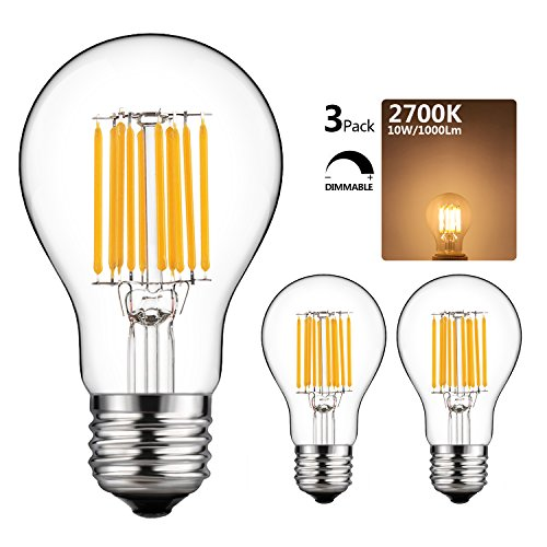 GEZEE 10W Edison Style Vintage LED Filament Light Bulb, 100W Incandescent Replacement,Warm White 2700K,1000LM, E26 Medium Base Lamp, A19(A60) Antique Shape, Clear Glass Cover,Dimmable(3-Pack) (120v Medium A19 Base Incandescent)