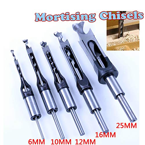 1Pc Square Hole Saw Mortise Chisel Wood Drill Bit with Twist Drill 25mm ()