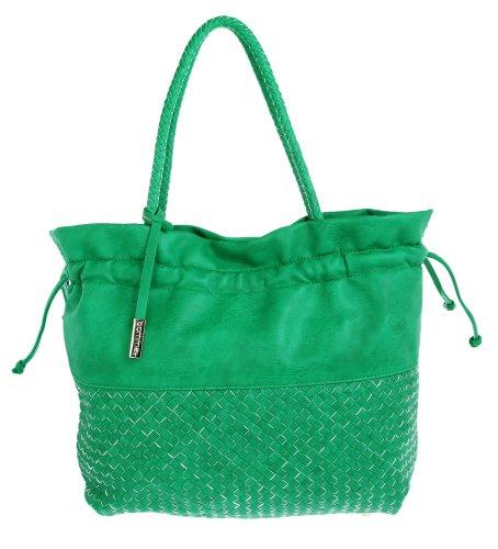 comma, Borsa tote donna Verde verde 46 cm x 35 cm x 15 cm