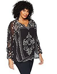 bd32967cfe7 Women s Plus-Size Long Open Sleeve Woven Blouse with Lace