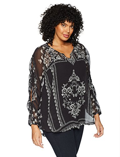 OneWorld Womens Plus-Size Long Open Sleeve Woven Blouse with Lace