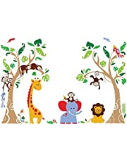 decalmile Muurtattoo jungle dieren en boom muursticker olifant aap giraffe muursticker babykamer kinderkamer slaapkamer wanddecoratie