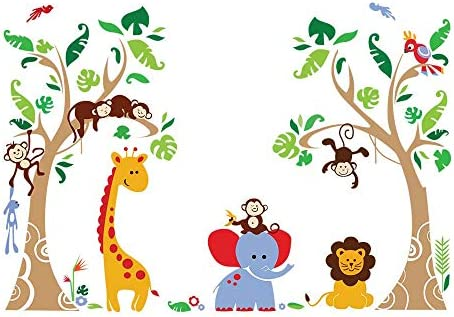decalmile Giraffe Elephant Stickers Decoration