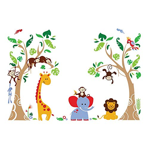 decalmile Tree and Jungle Animal Wall Decals Monkey Giraffe Elephant Wall Stickers Home Decoration Baby Nursery Kids Room Wall Decor -