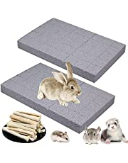 Hamiledyi Rabbit Scratch Foot Pad Bunny Grinding Claw Pad Small Animals Lava Grinding Teeth Stone Hamster Chew Sweet Bamboo Treats Toy for Guinea Pig Rat Gerbil Chinchilla Hedgehog (7 Pack)
