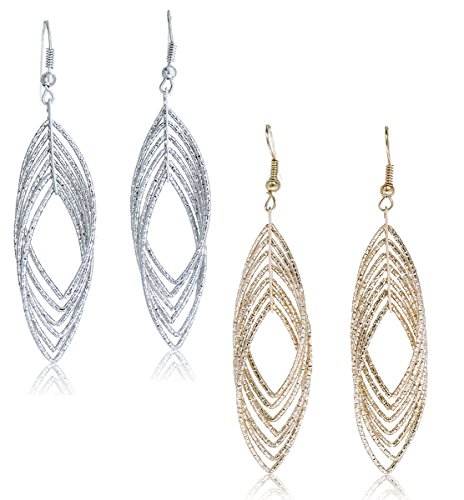 Heart Wire Gold (Gold and Luster Women Jewelry Drop Dangle Earrings Set Diamond Cut Silver And Gold Plated 2 Pairs (Long Dangle 3.4