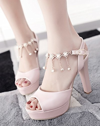 Aisun Womens Fashion Rhinestone High Chunky Heel Dressy Buckled Peep Toe Platform Sandals With Ankle Strap Pink vet6GU014y