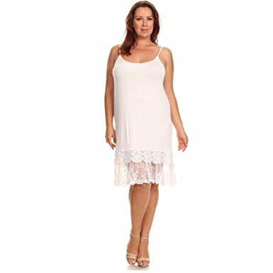 c10bab8db0cce Off White Layered Crochet Lace Trim Long Full Length Camisole Slip Top/Dress  Extender (