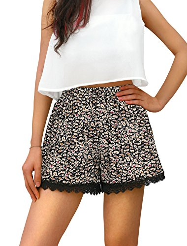 Allegra+K+Women+Cashew+Flowers+Print+Scalloped+Lace+Trim+Shorts+Black+Beige+L