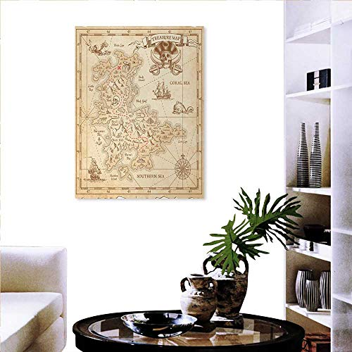 - Island everlands Art Flower Canvas Print Art Wall Deco Old Ancient Antique Treasure Map with Details Retro Color Adventure Sailing Pirate Print Wall Hole Sticker 32