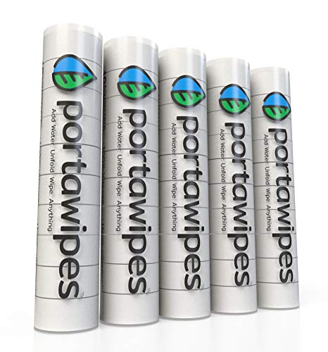 Portawipes Compressed Toilet Paper Tablet Coin Tissues - 50 Pack with 5 Carrying Cases