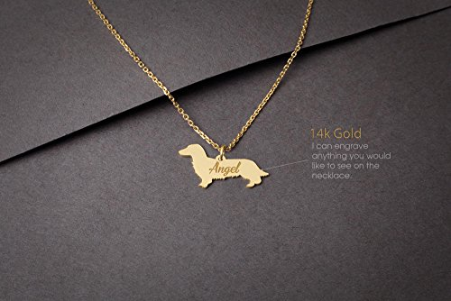 14K GOLD Personalised LONGHAIRED DACHSHUND Necklace - Dahshund Name Jewelry - Gold Necklace- Dog Jewelry - Dog breed Necklace - Dog Necklaces